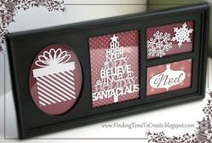 Good gift idea for Marnie or Rachel, but instead of vinyl on the glass, cut the white patterns from cardstock and attach to the patterned paper. Then it can be changed out for different seasons or holidays.