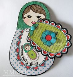 DIY - Babushka-Doll-shaped Swing Card Tutorial + free printables)