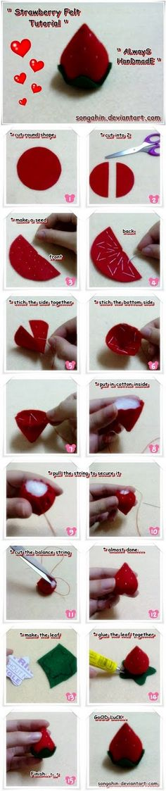 DIY Felt Strawberry Tutorial I also think it would be awesome to use fruit leather an a edible filling an put them in an edible chocolate cups Cute Crafts, Felt Crafts, Fabric Crafts, Sewing Crafts, Diy And Crafts, Sewing Projects, Felt Fruit, Felt Cake, Felt Play Food