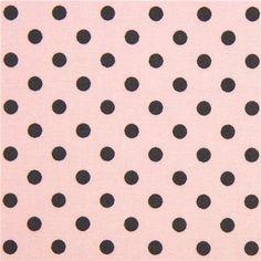 light pink Michael Miller fabric dark grey polka dots