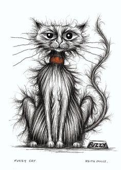 Fuzzy cat Fluffy frizzy kitty looking shabby Hand drawn ink cartoon sketch