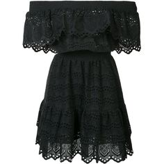 Love Shack Fancy off shoulder ruffle eyelet dress (530 CAD) ❤ liked on Polyvore featuring dresses, vestidos, black, frilled dress, off the shoulder dress, off shoulder frill dress, off-the-shoulder ruffle dresses and cotton dresses