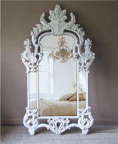 Vintage Rococo Mirror, Baroque, Shabby Chic, Huge Leaning Mirror