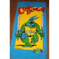 Teenage Mutant Ninja Turtles Leonardo Official Turtle Force Towel Vintage 1989 by nodemo