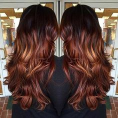 25 Copper Balayage Hair Ideas for Fall Dark Copper and Chocolate Balayage Highlights for Brunettes - All For Hair Color Trending Copper Balayage Brunette, Hair Color Balayage, Hair Highlights, Dark Balayage, Short Balayage, Auburn Balayage, Brunette Hair, Chocolate Balayage, Ombre Hair Color For Brunettes
