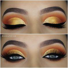 Awesome gold eyes makeup - make up - Eye-Makeup Gold Eyeliner, Gold Eye Makeup, Makeup Eye Looks, Beautiful Eye Makeup, Pretty Makeup, Skin Makeup, Eyeshadow Makeup, Easy Eyeshadow, Awesome Makeup