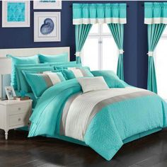 Customize the color blocked 24 Piece Arisa Bed in a Bag Comforter Set by Chic Home by choosing from available colors. For a complete bedroom makeover,. Bedroom Makeover, Comforter Sets, Teal Bedding Sets, Bed In A Bag, Girls Bedroom, Teal Bedding, King Comforter Sets, Luxury Bedding, Home Decor