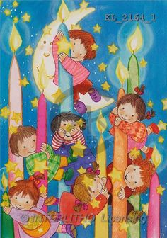 Interlitho, Soledad, CHRISTMAS CHILDREN, naive, paintings, kids, candles, moon(KL2164/1,#XK#) Weihnachten, Navidad, illustrations, pinturas