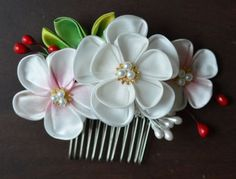 DeviantArt: More Like Sakura Hair Comb. Modeled tsumami kanzashi by hanatsukuri
