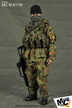 In the Bundeswehr in Germany developed a number of prototype camouflage patterns, to be trialled as replacements for the solid olive-g. Military Units, Military Gear, Military Equipment, Military History, Gi Joe, Mc Toys, Army Beret, Military Action Figures, Model Hobbies
