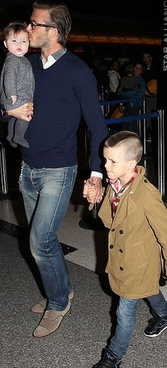 The Beckhams, David Beckham with son Brooklyn Beckham and baby daughter Harper