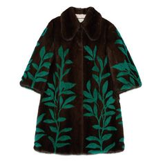 Gucci Leaf Intarsia Mink Fur Coat ($31,385) ❤ liked on Polyvore featuring outerwear, coats, green coat, mink coat, gucci, gucci coat and brown mink fur coat