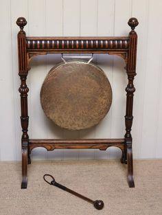 Edwardian Oak Framed Floor Standing Gong - Antiques Atlas