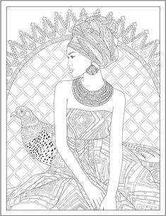 Creative Haven Wondrous Women Coloring Book @ Dover Publications Printable Adult Coloring Pages, Coloring Book Pages, Printable Art, Printables, Pencil Sketch Drawing, Dover Publications, Art Activities, Free Coloring, African Art