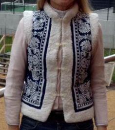 Indigo folkloric waistcoat handmade in Germany Folklore, Indigo, Germany, Vest, Modern, Sweaters, Jackets, Handmade, Fashion