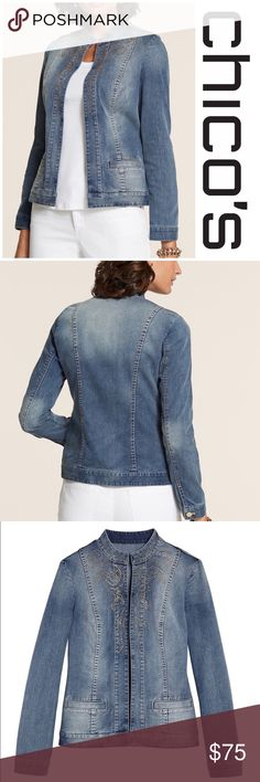 "NWT Golden Paisley Denim Jacket Chico's Denim Jacket The classic jean jacket modified for modern-day glamour: it's finished on the front with studded paisleys and an all-over ombre effect.  Welted hand pockets.  Regular length: 23""/ bust 36.5"" 78% cotton, 21% polyester, 1% spandex. Chico's size 1 which is a medium Chico's Jackets & Coats Jean Jackets"