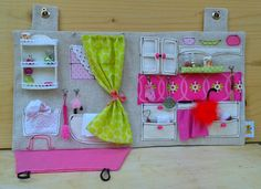 Made to order - Sewed Dollhouse with Miniature Accessories / Travel Dollhouse / OOAK Portable Fabric Dollhouse