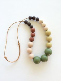 Hand painted geometric wooden bead bubble necklace/ statement necklace/ round beads/ fall colors/ autumn/brown and green/ color block/ gift