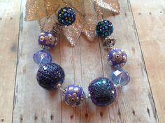 Purple Blue Glass Statement Necklace Beaded by SundanceMountains