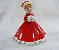 Vintage Josef Originals Christmas Winter Girl Bell with Muff Black Eyes