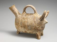 Terracotta zoomorphic askos (vessel)   Period: Middle Cypriot, Date:1900–1600 B.C., Culture:Cypriot, Medium:Terracotta.  @ The Metropolitan Museum Of Art