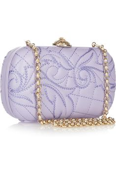 liilac embroidered leather box clutch. this is beautiful.