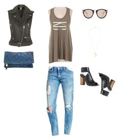 """""""Olive Vintage Tank KC LOVE outfit"""" by cassandracastaneda-1 on Polyvore featuring Topshop, BLANKNYC, Karen Walker, Clare V., Simply Vera and vintage"""