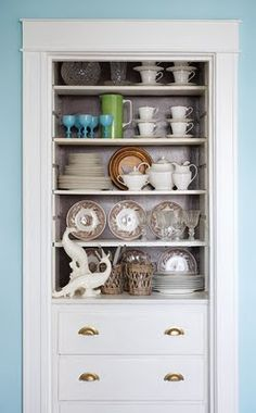 Built in, drawers and open shelves