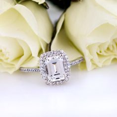 Hello gorgeous! This double halo emerald cut diamond engagement ring has my name all over it!
