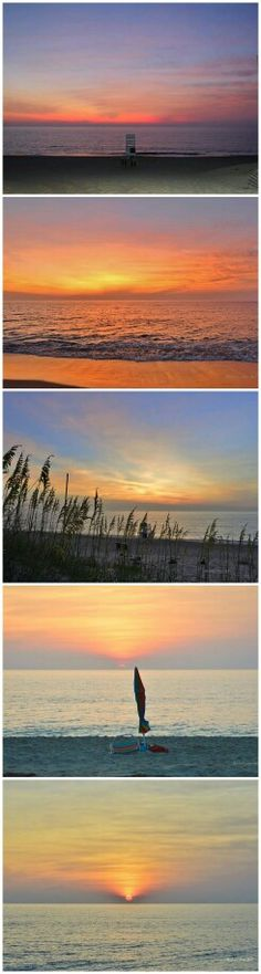 Outer Banks NC Local Artists Facebook post 7/22/15:  Sunrise OBX this morning.  Photographer credit; Barbara Ann Jump-Bell.  Pinner used PhotoGrid to post as film strips this is 2 of 2.