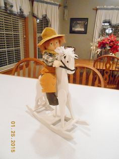 Vintage Handmade Rocking Horse and Cowgirl by CountryMileCottage