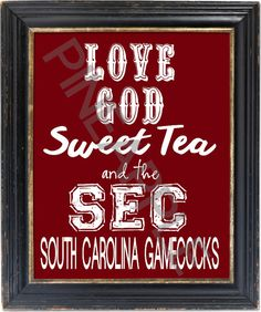 Love God, Sweet Tea and the ACC Clemson University Clemson Tigers Football Wall Art Print Art South Carolina Gamecocks Football, Gamecock Nation, Tennessee Volunteers Football, Tennessee Football, Clemson Football, Clemson Tigers, College Football, Bulldogs Football, Football Season