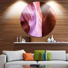 Designart 'Purple Shade in Antelope Canyon' Landscape Photo Round Wall Art x 38 - disc of 38 inch), Brown, DESIGN ART(Aluminum) Purple Wall Art, Purple Walls, Landscaping Near Me, Circle Metal Wall Art, Black And White Landscape, Fall Mantel Decorations, Metal Artwork, Landscape Photos, Landscape Photography