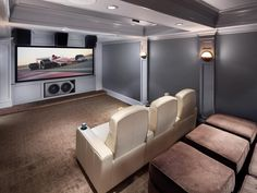 Home theaters sala See photos about Home Theater Designs From CEDIA 2014 Finalists from HGTV Home Theater Furniture, Home Theater Setup, Best Home Theater, At Home Movie Theater, Home Theater Speakers, Home Theater Projectors, Home Theater Rooms, Home Theater Design, Home Theater Seating