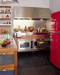 floor color, red fridge, wood and stainless