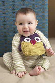 Owl Bib ~ Free crochet pattern at Ravelry ~ Pattern by Lion Brand ~ Links to patterns for Duckie, Piglet, Robot, and Froggie bibs.