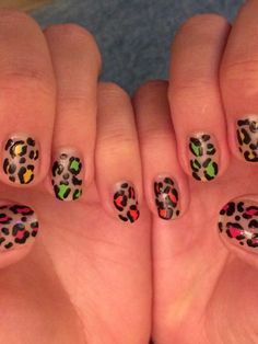 Neon brights leopard print - done whilst watching Strictly for full garish inspiration!