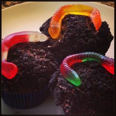 Is school out yet?!  Looking for something fun to make with the kids?  We made these Dirt and Worm Cupcakes, my boys had so much fun!!!  We took basic chocolate cupcakes, rolled the tops in crushed Oreos and added a gummy worm.  Simple, fun and yummy!!!