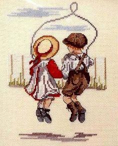 Skipping Together - litazeta - Álbuns da web do Picasa Cross Stitch Needles, Cross Stitch Baby, Counted Cross Stitch Kits, Cross Stitch Charts, Cross Stitch Designs, Cross Stitch Patterns, Le Point, Needle And Thread, Needlework