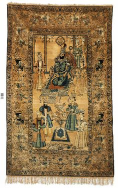 Persian rug from Kerman showing Nader Shah Afshar