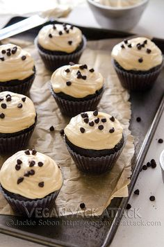 Yum! That's the one-word summation of these vegan Chocolate Cupcakes with Peanut Butter Cream Cheese Frosting.