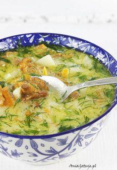 Zupa kurkowa z koperkiem, 1 Soup Recipes, Great Recipes, Vegan Recipes, Vegan Runner, Vegan Gains, Food L, Polish Recipes, Polish Food, Vegan Pizza