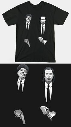 Pulp Fiction T Shirt   Very cool design featuring Jules and Vincent. Looks best on black.   Visit http://shirtminion.com/2015/06/pulp-fiction-t-shirt/