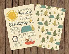 Items similar to Camping Birthday Party Invitation, Woodland Birthday Invite on Etsy First Birthday Camping Theme, Camping Birthday Invitations, Birthday Themes For Boys, Boy First Birthday, First Birthday Parties, First Birthdays, Birthday Ideas, Joseph, Jackson
