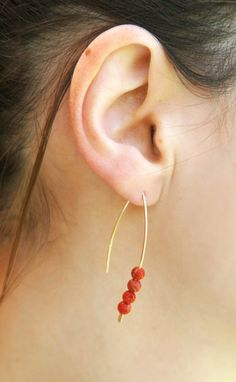 Red Coral gold fill earrings 14K Gold filled coral and by kookime, $24.00
