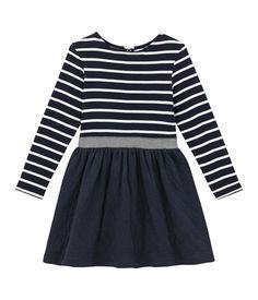 Robe enfant fille bi-matière rayée bleu Smoking   blanc Marshmallow - Petit  Bateau eb1af7f7697