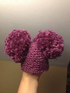Purple Newborn Pom Pom Hat