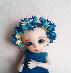 Crown Blue-white flowers for PukiFee Lati Yellow and by Valyashki
