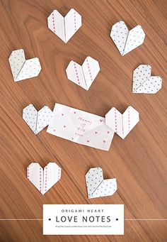 Origami Heart Love Notes- A great Valentine to make for the whole family! Includes a video to show exactly how fun these origami heart love notes are (and how easy to make).
