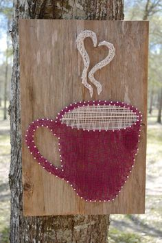 Coffee Cup Nail and String Art on Reclaimed Wood